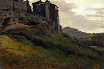 Jean-Baptiste-Camille Corot : Marino, Large Buildings on the Rocks