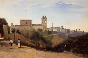 Jean-Baptiste-Camille Corot : Rome, Monte Pinco, the Trinita dei Monte, View from the Garden of the Academie de France