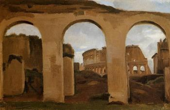 Jean-Baptiste-Camille Corot : Rome, The Coliseum Seen through Arches of the Basilica of Constantine