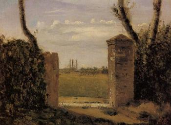 Jean-Baptiste-Camille Corot : Boid-Guillaumi, near Rouen, A Gate Flanked by Two Posts