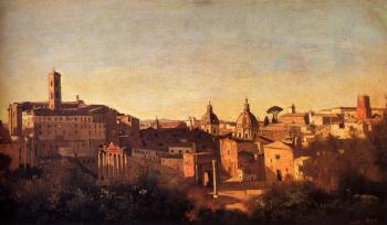 Jean-Baptiste-Camille Corot : Forum Viewed From The Farnese Gardens