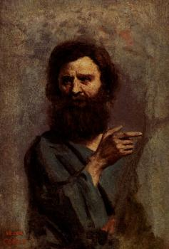 Jean-Baptiste-Camille Corot : Head Of Bearded Man (A Study For The Baptism Of Christ)