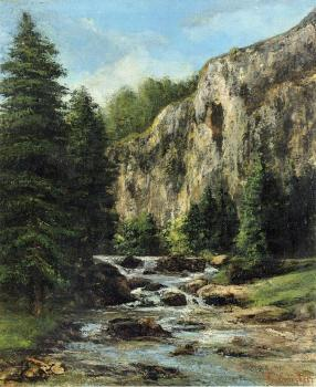 Gustave Courbet : Study for 'Landscape with Waterfall'