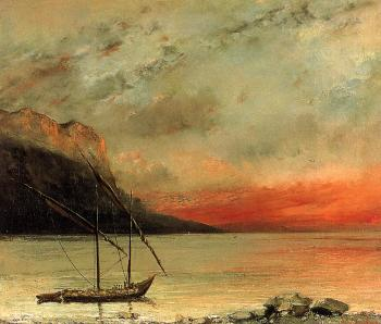Gustave Courbet : Sunset on Lake Leman