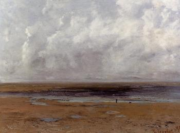 Gustave Courbet : The Beach at Trouville at Low Tide