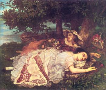 Gustave Courbet : The Young Ladies on the Banks of the Seine (Summer)