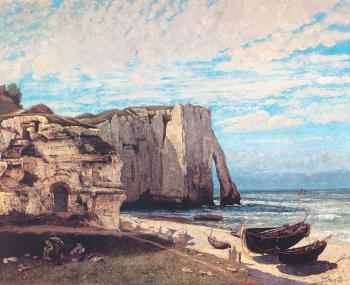Gustave Courbet : The Cliff at Etretat After the Storm