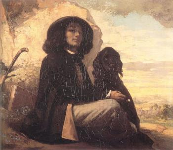 Self Portrait (Courbet with a Black Dog)