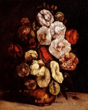 Gustave Courbet : Hollyhocks In A Copper Bowl