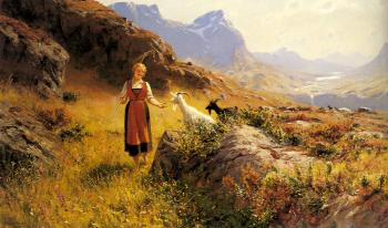 Hans Dahl : An Alpine Landscapewith a Shepherdess and Goats