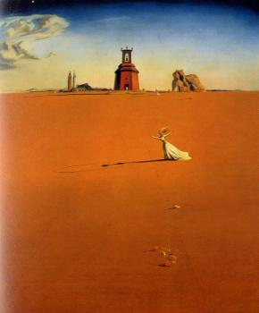Salvador Dali : Landscape With a Girl Skipping