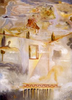 Salvador Dali : Gala in a Patio Watching the Sky, Where the Equestrian Figure of Prince Baltasar Carlos and Several Constellations(All)Appear,after Velazquez