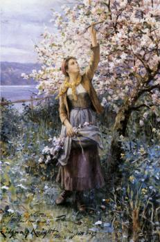 Daniel Ridgway Knight : Gathering Apple Blossoms