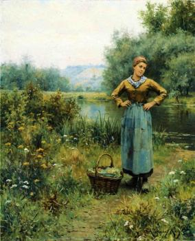 Daniel Ridgway Knight : Girl in a Landscape