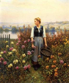 Daniel Ridgway Knight : Girl with a Basket in a Garden