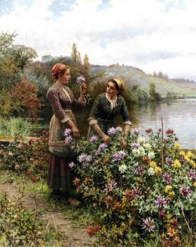 Daniel Ridgway Knight : Peasant Girls in Flower Garden