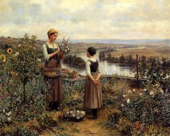 Daniel Ridgway Knight : Picking Flowers