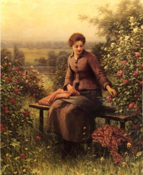 Daniel Ridgway Knight : Seated Girl with Flowers
