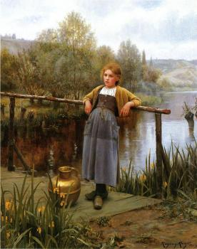Daniel Ridgway Knight : Young Girl by a Stream