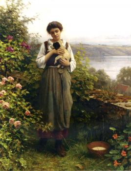 Daniel Ridgway Knight : Young Girl Holding a Puppy