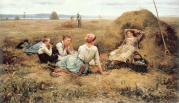 Daniel Ridgway Knight : The Harvesters Resting detail