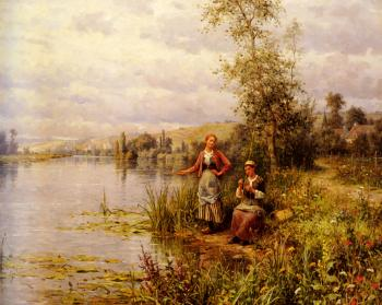 Daniel Ridgway Knight : Knight Louis Aston Country Women After Fishing On A Summer Afternoon
