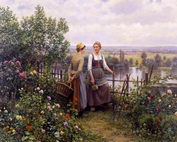 Daniel Ridgway Knight : Maria and Madeleine on the Terrace
