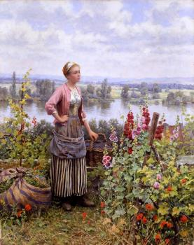 Daniel Ridgway Knight : Maria on the Terrace with a Bundle of Grass