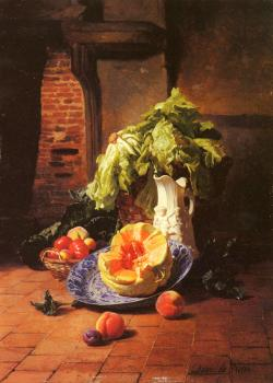 David Emile Joseph De Noter : A Still Life With A White Porcelain Pitcher Fruit And Vegetables