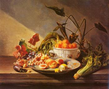 David Emile Joseph De Noter : A Still Life With Fruit And Vegetables On A Table