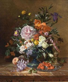 David Emile Joseph De Noter : A still life with flowers and fruit