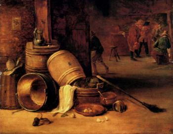 David Teniers The Younger : An Interior Scene With Pots Barrels Baskets Onions And Cabbages