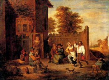 David Teniers The Younger : Peasants Merrymaking Outside An Inn