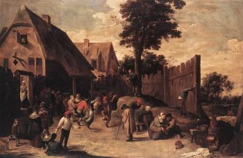 David Teniers The Younger : Peasants Dancing Outside An Inn
