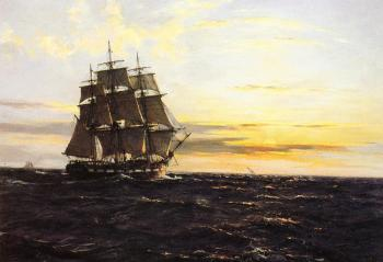 Montague Dawson : Into The Westerly Sun