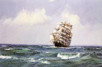 Montague Dawson : The Ship Lightening making Landfall in Summer Weather