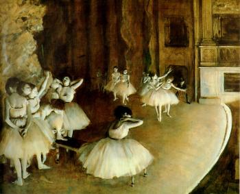 Edgar Degas : Ballet Rehearsal on Stage