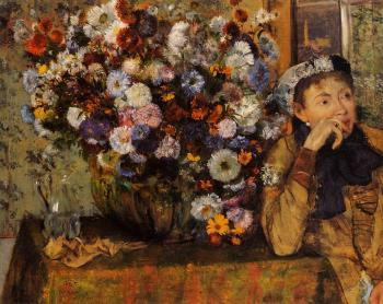 Edgar Degas : A Woman Seated beside a Vase of Flowers