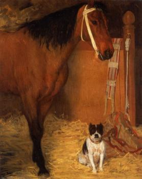 Edgar Degas : At the Stables, Horse and Dog
