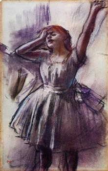 Edgar Degas : Dancer with Left Art Raised