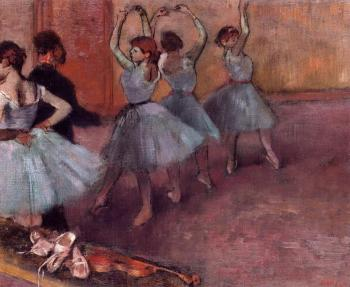 Edgar Degas : Dancers in Light Blue