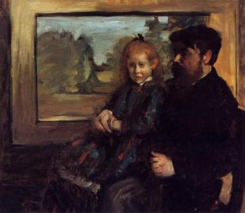 Edgar Degas : Henri Rouart and His Daughter Helene