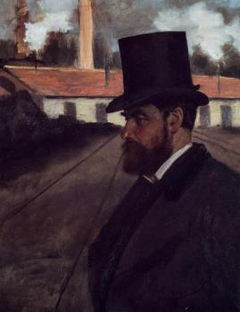 Edgar Degas : Henri Rouart in front of His Factory