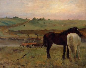 Edgar Degas : Horses in a Meadow