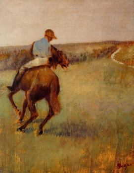 Edgar Degas : Jockey in Blue on a Chestnut Horse