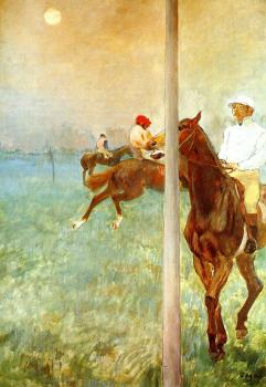 Edgar Degas : Jockeys before the Start with Flagpoll