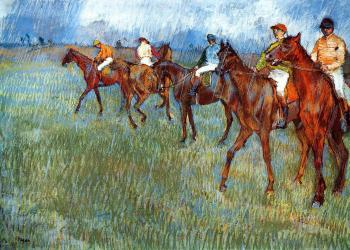 Edgar Degas : Jockeys in the Rain