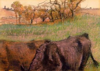 Edgar Degas : Landscape   Cows in the Foreground