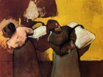 Edgar Degas : Laundress Carrying Linen