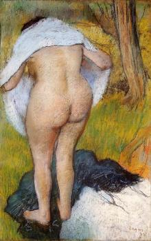 Edgar Degas : Nude Woman Pulling on Her Clothes